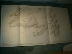 Vintage Admiralty Chart 232a NEWFOUNDLAND - SOUTHERN SHEET 1915 edn