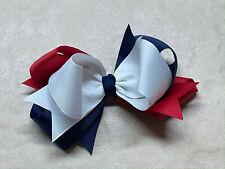 """Grosgrain Ribbon Bow Clip School Uniform Navy Red White 5""""Lx3""""H Girl Teen Girl"""