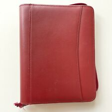 New Listingfranklin Covey Planner Classic Red Genuine Leather Binder Organizer 7 Ring Zip