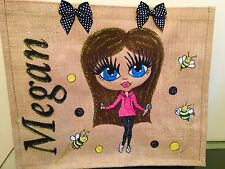 PERSONALISED LARGE HAND PAINTED JUTE BAG Any Name Or Style Personalised By You