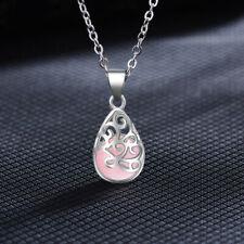 925 Sterling Silver Pink Opal Pendant Necklace Women Fashion Jewellery UK