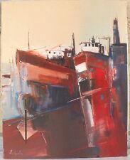 hst óleo sobre lienzo firmada Chevalier pintura cuadro barcos puerto
