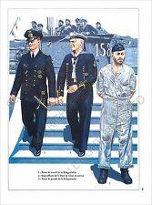 PLANCHE UNIFORMS PRINT WWII Kriegsmarine marine guerre Allemagne Submarine Tenue