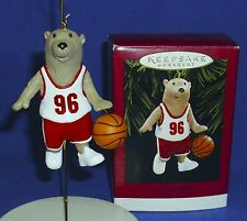 Hallmark Christmas Ornament Bounce Pass 1996 Bear Playing Basketball Ball Moves