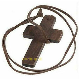 Leather Brown Wooden Cross Pendant String Rope Necklace