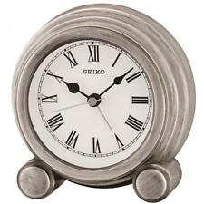 Seiko QXE052S Durable Best Quality Antique Finish Mantel Alarm Clock - Silver