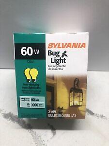 2 Bug Light Bulbs, 60w Sylvania A19 base 10390                       #855