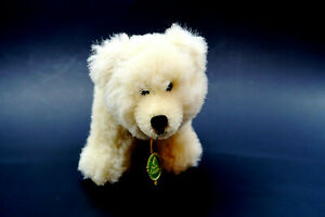 """Vintage HERMANN Mohair White Bear Plush 6"""" with Tag and Button Made in Germany"""