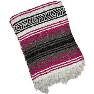 Mexican Blanket Falsa Woven Yoga Throw Sarape Seat Cover Throw Rug