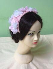 50s Vintage Hat. Pink Flower Headdress. Wedding. Goodwood