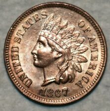 Uncirculated 1867 Indian Head Cent, Razor-sharp specimen