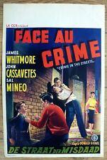 belgian poster film noir CRIME IN THE STREETS, CASSAVETES, WHITMORE, MINEO polar
