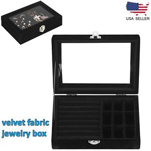 Velvet Jewelry Organizer Box Earring&Rings Holder Storage Case Clear Glass Top