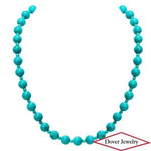 Estate Turquoise Sterling Silver Elegant Bead Necklace 52.1 Grams NR