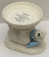 BATH & BODY WORKS 3-WICK CANDLE HOLDER WHITE GLITTER SPARKLY POLAR BEAR PEDESTAL