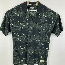 Tommy Bahama Relax Mens Polo Shirt Black Green Tropical Leaves Size XL