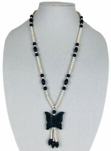 Vintage Carved Long Butterfly Necklace Black & White Stone Unique
