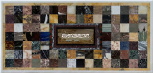 Marble Rectangle Table Dining Top Mosaic Multi Cubes Furniture Home Decor H3934