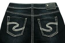 Silver Jeans Suki women's White Stitching Dark Blue Slim Straight Size 29 x 25
