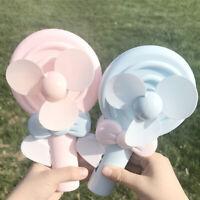 HN- Lovely Cartoon Lollipop Shape Handheld Manual Hand Press Blowing Mini Fan Gi