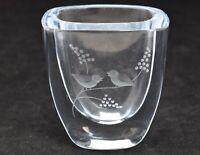Strombergshyttan Art Glass Crystal Vase Frosted Etched Birds