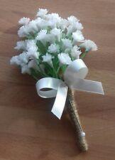Wedding Gypsophilia buttonhole x 1 satin bow rope