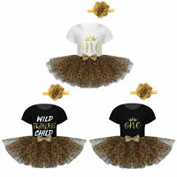 Baby Girl Clothes Bodysuit Leopard Tutu Skirt Flower Short Sleeve Romper Outfit