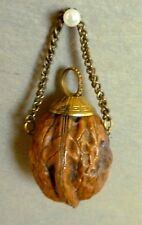 Unusual  Scent Perfume Bottle Container Flask Pomander Walnut Whimsy C.1850