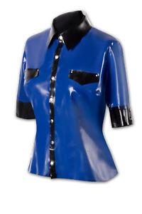 Latex Fetisch Damen Bluse mit Kragen und Brustklappen in blau XRubber