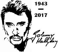 sticker johnny hallyday signature année rock et n'roll -Tailles-couleur au choix