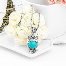 Fashion Owl Unique Retro Bohemia Style Turquoise Stone Necklace Pendant Chain