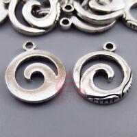 Ocean Wave Charms 17mm Antiqued Silver Plated Pendants SC0104573 - 10/20/40PCs