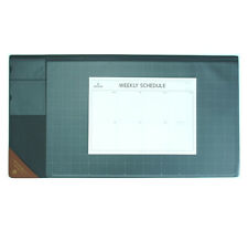 "10day Shipping, Wide Vintage Desk Pad gray 25x13"" with Weekly Schedulers"