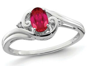 Natural Ruby Ring 2/5 Carat (ctw) in Rhodium Plated Sterling Silver