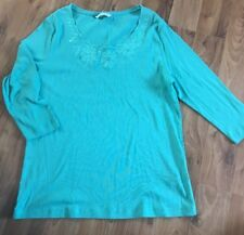 Ladies Size 12 Green 3/4 Sleeved Top From Marks And Spencer's Vgc