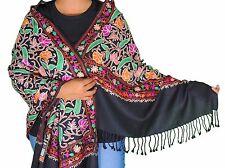 """Luxury Black Kashmir Embroidery Wool Dress Wrap Evening Shawl Fashion Scarf 80"""""""