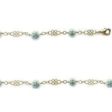 Bracelet female Hook Beads glass BLUE nine gold plated