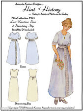 1910s Lace Insertion Dress & Drawstring Slip 6-24 Hint of HIstory Sewing Pattern
