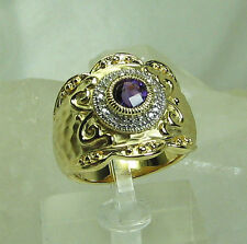 HSN Round Amethyst Shield Technibond GP Sterling Silver Ring SZ 7