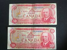 2 1975 BANK OF CANADA 50 DOLLAR BANKNOTES