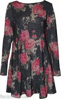 SEXY WOMEN LADIES FLORAL FLOWER PRINT SWING BAGGY CASUAL SKATER FLARED DRESS TOP