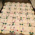 """VINTAGE Handmade CUTTER QUILT Hand Stitched 77""""x62"""" Wedding Ring Stain Rips Thin"""