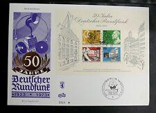 TIMBRES D'ALLEMAGNE : BERLIN BF 1er JOUR 50 JAHRE DEUTSCHER RUNDFUNK 1923 / 1973