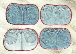"""Vintage Handmade Denim Jean Placemats 12x17"""" Western Pants Lot Of 4 *FLAWS/STAIN"""