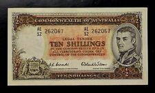 {BJSTAMPS} 1954 AUSTRALIA TEN SHILLINGS CURRENCY BANK NOTE #29 CRISP