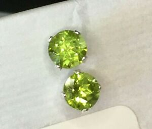 Peridot Earrings in Sterling Silver 4 Prong Setting 6mm matched stones August