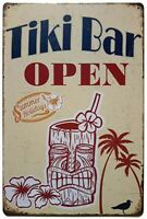 THE TIKI BAR IS OPEN - TROPICAL  POOL PATIO BOAT BAR SIGN PLAQUE