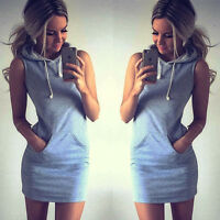 Womens Striped Hoodies Sleeveless Short Casual Mini Dress Tunic T Shirt Sundress