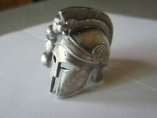 SKULL SPARTAN TROJAN WARRIOR GLADIATOR HELMET CUSTOM SILVER FIGHTER, BIKER RING