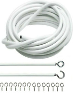 WHITE Net Curtain Wire Cord Cable With (FREE EYES & HOOKS)  Choose Your Lengths